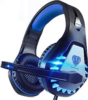 Pacrate Auriculares Gaming para PS4/Xbox One/Nintendo Switch, GH-1 Cascos Gaming con Sonido Envolvente y Cancelación de Ruido Auriculares Diadema con 3.5mm Jack con Luz LED