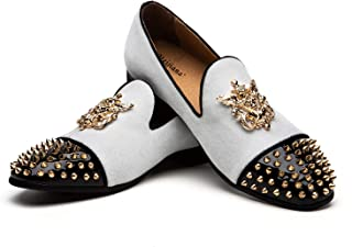 MEIJIANA White Loafers Velvet Dress Shoes with Gold Plate Smoking Slippers Slip on Penny Party Luxury Loafer Shoes for Men …