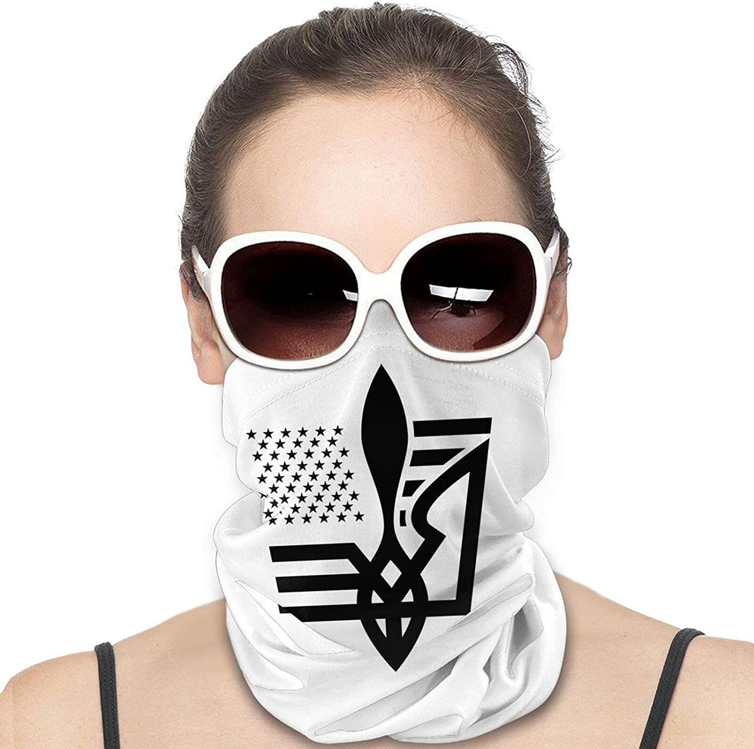 Ukraine Tryzub Round Neck Gaiter Bandnas Face Cover Uv Protection Prevent bask in Ice Scarf Headbands Perfect for Motorcycle Cycling Running Festival Raves Outdoors