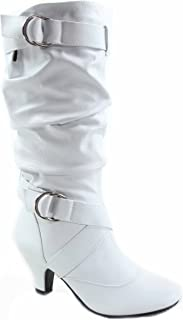 Best white boots low heel Reviews