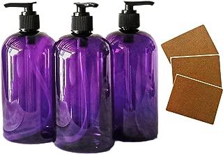 SanDaveVA Brand 16oz Purple Plastic Bottle PET Round Bottles w/Black Lotion Pumps 3 Bottles/PK and Kraft Labels