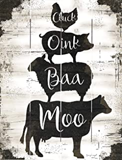Rustic Pallet Art - Farmhouse Stack Moo, Baa, Oink, Cluck (9 x 12) - Hand Made by Amish