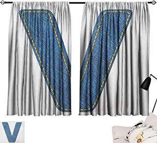 Pocket Thermal Insulated Tie Up Curtains Letter V,Clothing Fashion Style Theme with Majuscule V Alphabet Symbol Modern Collection, Blue Yellow 72
