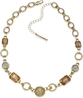 Gold Link Chain Necklace with Light Peach and Clear Crystals
