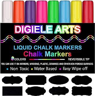 Rotuladores de Tiza Líquida, DIGIELE 8 Llamativos Colores con 32 Etiquetas Reusables, Punta Reversibles 6mm, Borrado en Pa...