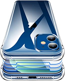 Garegce Hülle Kompatibel mit iPhone 12 Hülle und iPhone 12 Pro Hülle mit Panzerglas 3 Stück, Handyhülle Transparent Silikon Stoßfest für iPhone 12, für iPhone 12 Pro, 6.1 Zoll   Transparent
