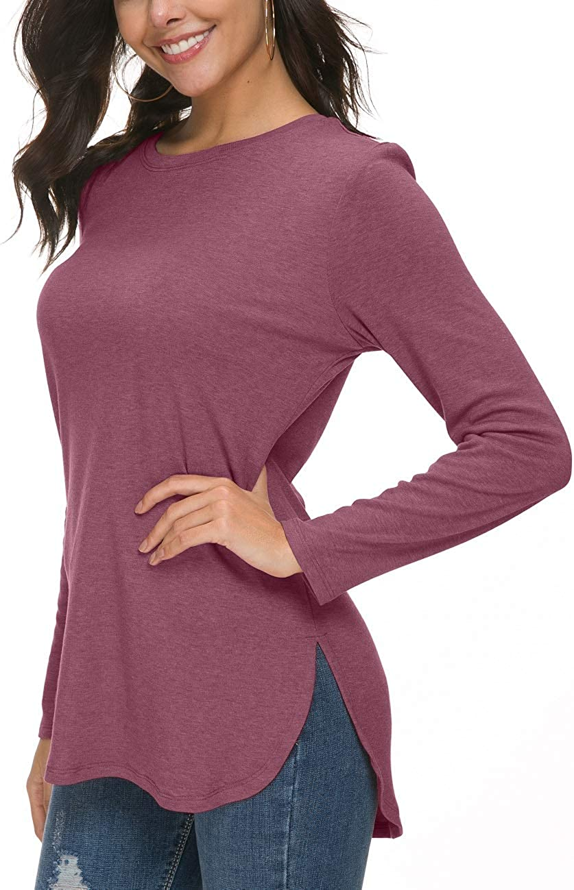 Herou Women Long Sleeve Loose Casual Side Split Tunic Sweater Tops T Shirt