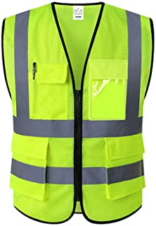XIAKE Mesh Safety Vest High Visibility Reflective Vest with Pockets and Zipper, Meets ANSI/ISEA Standards,Yellow,Large