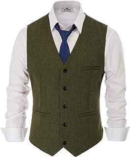 PaulJones Men's Wool Blend Tweed Waistcoat Double Breasted Slim Fit Suit Vest