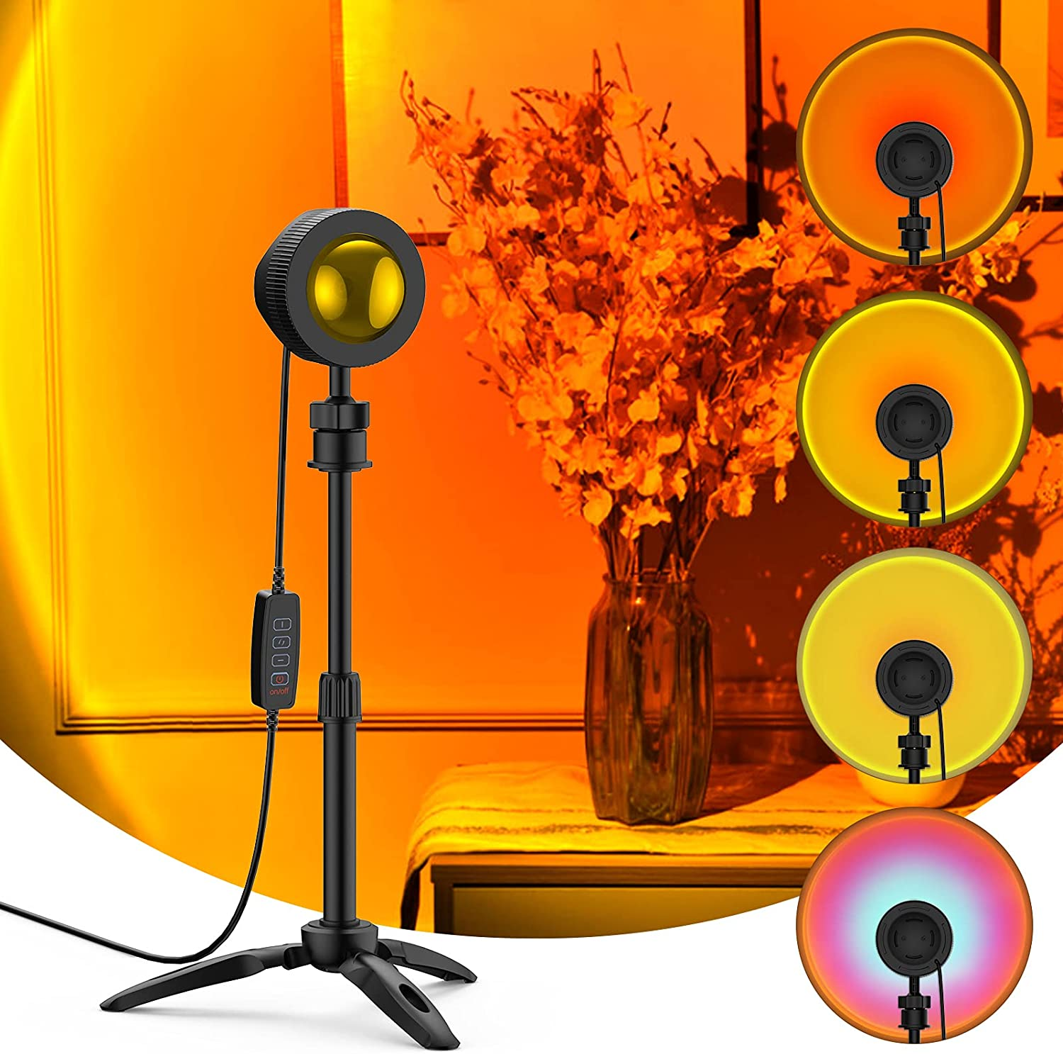 Sunset Lamp Projector Light 4 Changeable Cheap mail order sales Color Adjustabl Very popular in 1