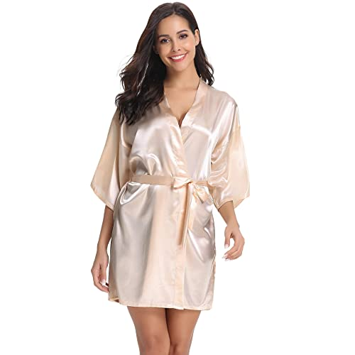 Vlazom Womens Kimono Robes Dressing Gown Satin Bathrobe Nightdress Pure Colour Short Style with Oblique V-Neck