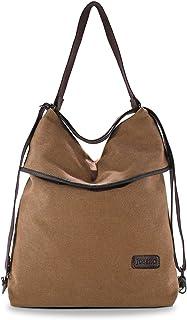 JOSEKO Canvas Tasche Segeltuch Vintage Rucksäcke Damen Schultertasche Handtasche Multifunktionsbeutel für Reise Outdoor Schule Einkauf Alltag Büro Khaki