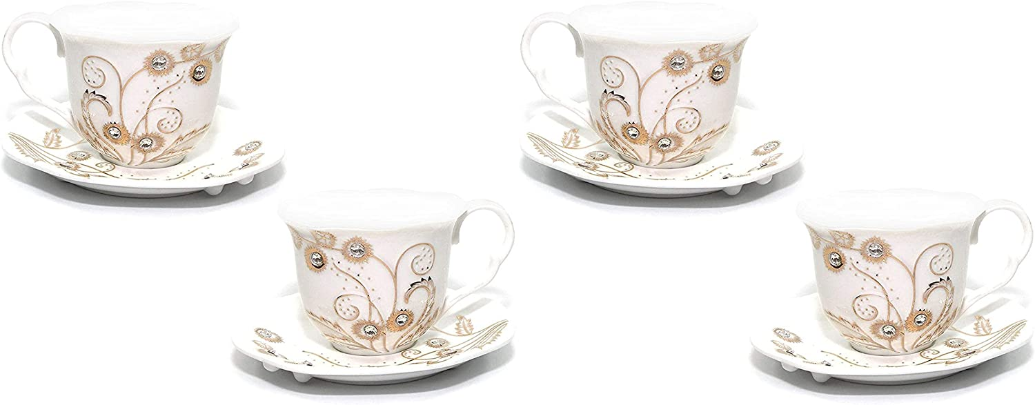 Royalty Al sold out. Porcelain 4-pc Mug Set Feathers Coffee Max 88% OFF or for Tea Bone