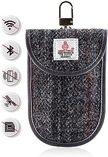 MONOJOY Key Fob Signal Blocking Faraday Bag RFID Key Fob Protector Key Fob Guard Bag Shielding Pouch Faraday Cage Keys for Car Key Fob Keyless Entry Remote (Tweed Signal Blocking Bag)