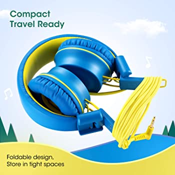 Kids Headphones-noot products K33 Foldable Stereo Tangle-Free 3.5mm Jack Wired Cord On-Ear Headset for Children/Teens...
