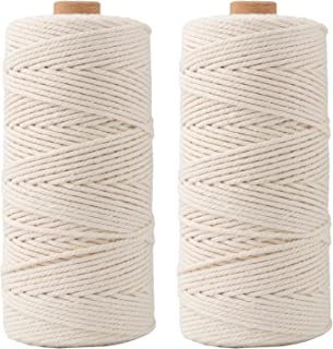 SUBANG 2 Pack 219 Yards Macrame Cord Natural Macrame Rope Twisted Cotton Cord for Gardening,Gift Wrapping, Packing Material,Jewelry and Craft Projects,Wall Hanging (3mm)