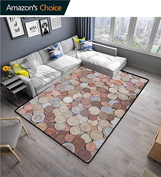 YucouHome Money Flowers Door Mat Outdoor Waterproof Close Up Photo Of Coins European Union Euros Cents On Rustic Wooden Board Fashionable High Class Living Dinning Room 5 X 8 Bronze Silver Yellow