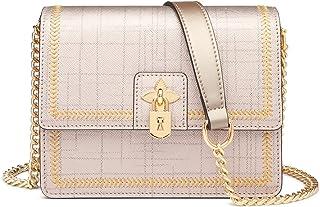 FOXER Leder-Schulterkette Taschen für Frauen, Saffiano Leder Damen kleine Crossbody Taschen mit Hardware Lock Dekoration D...