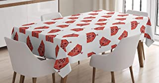CHARMHOME Barn Door Cotton Linen Tablecloth, Dining Room Kitchen Rectangular Table Cover 60(W) X90(L) inchInch, Country Barn Pattern with Rooster Silhouette Weather Vane Farmer Theme