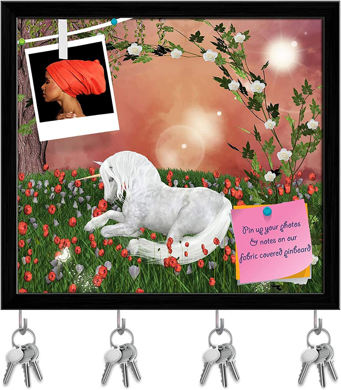 Artzfolio Beautiful Unicorn D2 Key Holder Hooks   Notice Pin Board   Black Frame 17.7 X 16Inch