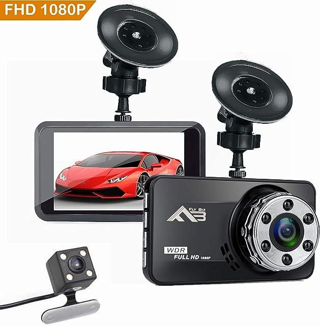 Flybiz Cámara De Coche 1080P Full HD Dash CAM 170°Gran Ángulo Supercondensador WDR Visión Nocturna Dashcam con G-Sensor Grabación en Bucle y Detección de Movimiento