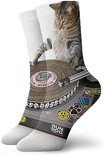 tyui7, Calcetines de compresión antideslizantes para gatos Cat Scratch DJ Calcetines deportivos cómodos de 30 cm para hombres, mujeres y niños