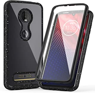 LUCKYCAT Moto Z4 Case,Moto Z4 Play Case, Shockproof Clear Multicolor Series Bumper Built-in Screen Protector Cover for Motorola Moto Z4 (2019 Version),Black
