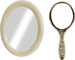 Majik Oval Shape Bathroom Mirror With Compact Mirror With Handle For Home And Parlor Use (Multicolor, Medium) Pack Of 1