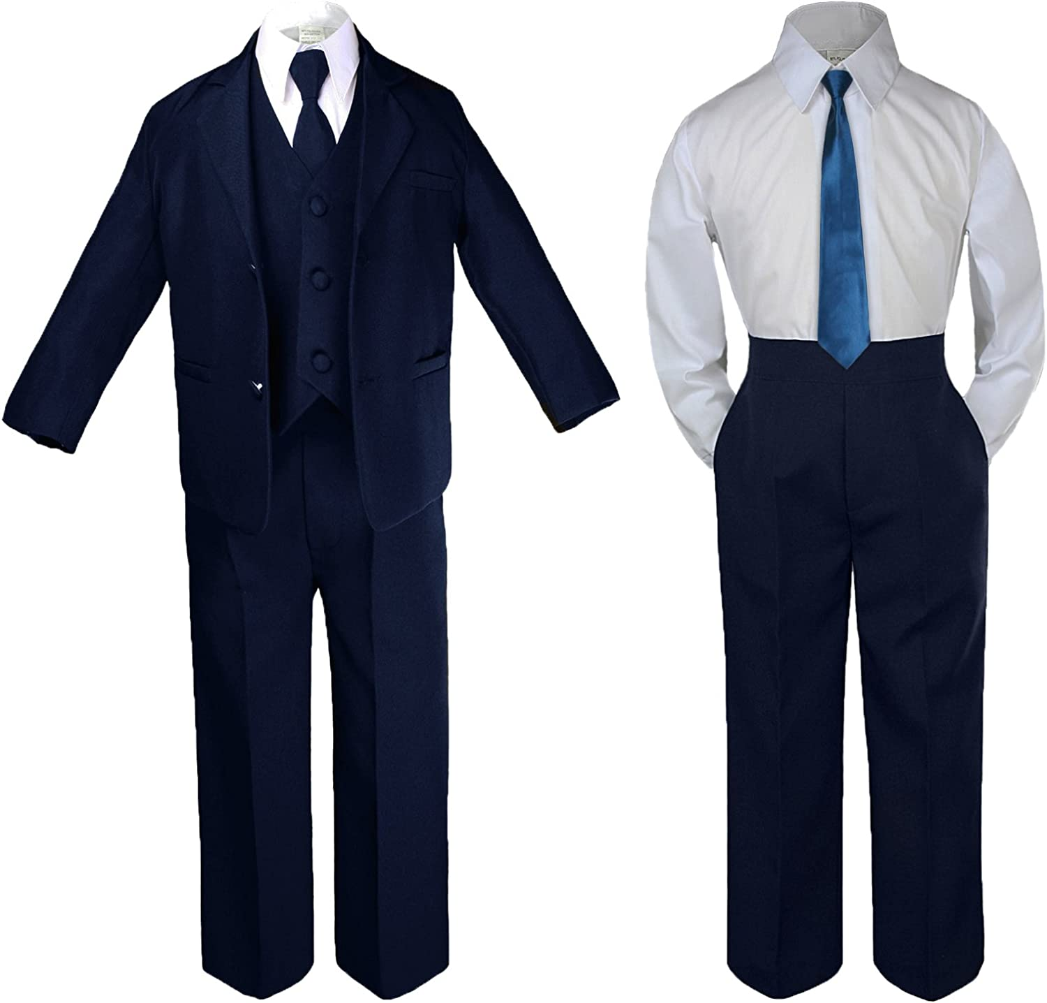 Unotux 6pc Baby Infant Toddler Boy Teen Party Wedding Navy Suit Extra Neck Tie Sm-4T