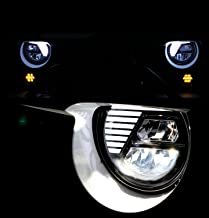 Restyling Factory 07-16 Jeep Wrangler JK True LED Headlight Black,Hi-Bean + Low-Beam (Cree LEDs) + DRL, Die-Cast Aluminum Large Cooling heatsink 1 Pair (Black)