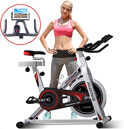 HARISON Pro Indoor Cycling Bike with Table Holder - Exercise Bike Stationary Bicycle for Home Gym Cardio Workout