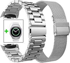 Koreda Compatible with Samsung Gear S2 Bands Sets, 2 Pack Stainless Steel Metal Band + Mesh Loop Replacement Bracelet Strap for Gear S2 Sport Smart Watch SM-R720/R730 (2 Pack Sliver)