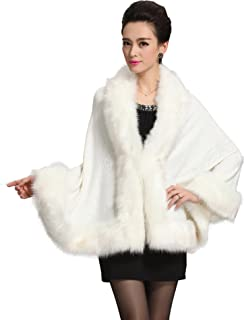 Women Luxury Bridal Faux Fur Shawl Wraps Cloak Coat Sweater Cape