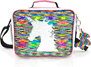 JYPS Insulated Unicorn Lunch Box for Kids, Flip Sequin Girls Tote Lunch Bags with Shoulder Strap, Handheld Reusable Lunch ...