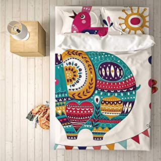 Nursery Durable 4 Piece Bedding Set,Cute Eastern Inspired Elephant Bird and Bee Oriental Themed Art Design Sun and Moon Decorative for Room,One Side Print : King