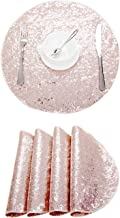 Poise3EHome 15 Inches Diameter Round Sequin Placemat, Place Mats Pack of 4 - Rose Gold