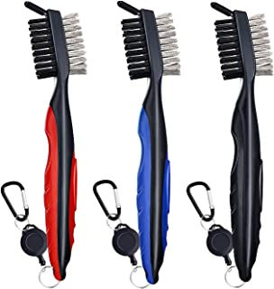 SHENGQIDZ 3 Pack Golf Club Brush -Must-Have Golf Tool for Cleaning Dirty Clubs Groove Cleaner with Retractable Zip-line an...