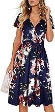 OUGES Women's Summer Short Sleeve V-Neck Floral Short Party Dress with Pockets