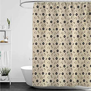 home1love Bath Shower Curtain,Music Retro Records Headphones Microphones Casette Tapes Melody in Sixties Graphic Art,Shower Hooks are Included,W36x72L,Cream Black