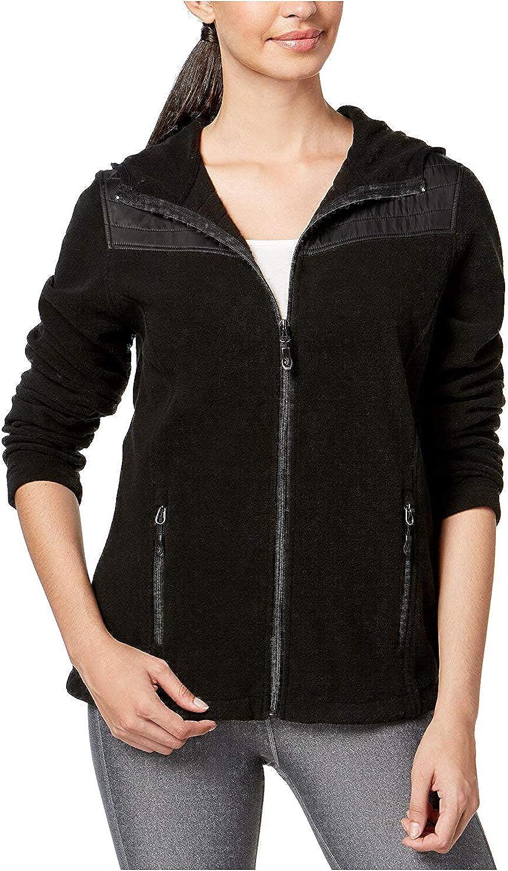 Ideology Women's MixedMedia Hooded Jacket Black Small