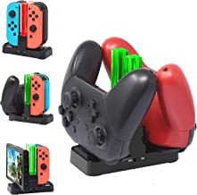 [New Version]Charger for Nintendo Switch Pro Controllers and Joy-Cons,Charging Stand for Nintendo Switch with 2 Type-C USB Ports and 1 Type-C USB Charger Cable