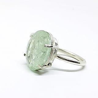 Grande anello in argento sterling con eccezionali misure di acquamarina blu/verde naturale da 15,45 carati (20 mm x 14,8 m...