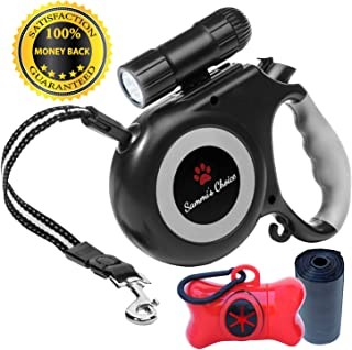 Retractable Dog Leash with Bright Flashlight for Small to Medium Breed Dogs, 16 ft Dog Walking Leash, Tangle Free Nylon Cord, Comfortable Grip, One Button Brake & Lock, Dog Waste Dispenser & Bags Incl