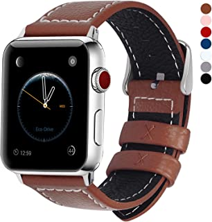 Fullmosa Compatible Watch Bands 38mm 40mm 42mm 44mm, Jan Series Lichi Texture Calf Leather Strap Replacement Band/Strap/Bracelet for Watch Series 5, Series 4, Series 3, Series 2, Series 1, Sport and Edition Versions 2015 2016 2017 2018 2019, 42mm 44mm, Brown