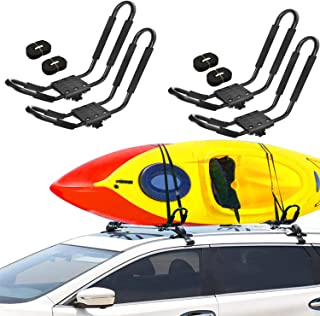 Adust 2 Pair J-Bar Rack for Kayak Carrier Canoe Boat Paddle Board Surfboard Roof Top Mount on Car SUV Truck Crossbar with ...