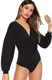 WDIRARA Women's Casual Deep V Neck Long Sleeve Solid Surplice Bodysuit
