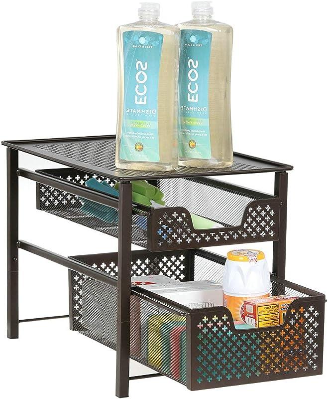 2 Tier Basket Organizer Drawer Spice Racks Kitchen Wall Mounted Spice Storage For Kitchen Cabinets Bronze