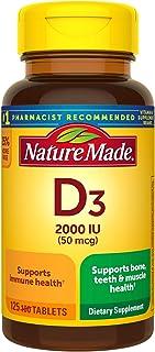 Nature Made Vitamin D3 2000 IU (50 mcg) Tablets, 125 Count Bonus Bottle for Bone Health