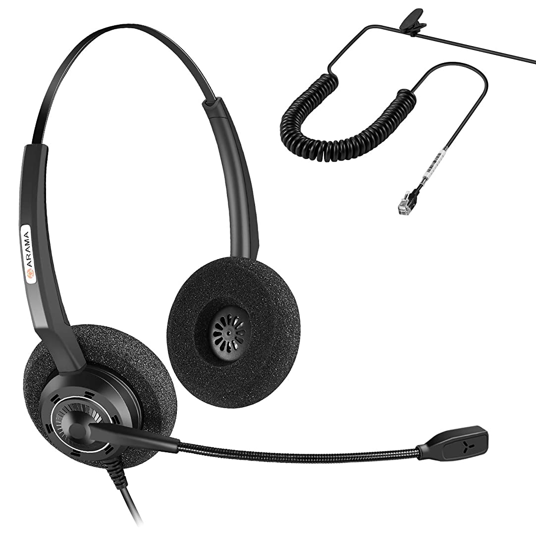 びん唯一診療所Arama 電話用RJヘッドセット 有線 両耳タイプ ノイズキャンセリングマイク付き コールセンター用 Cisco 7941 7975のオフィスIP電話用 Plantronics M10 M12 M22 MX10のアンプを搭載した電話システム用