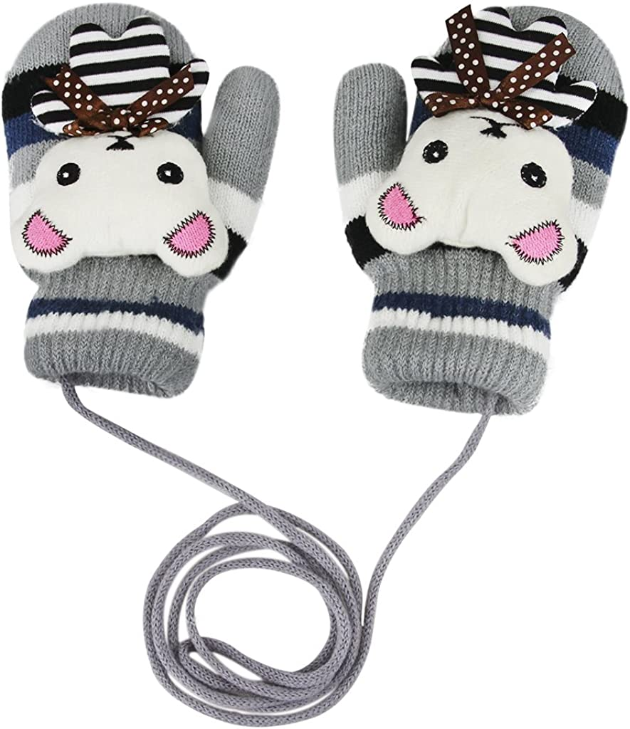 Kids Winter Knit Mittens Warm Plush Lined Hand Warmer Full Finger Ski Gloves Cold Weather Gloves